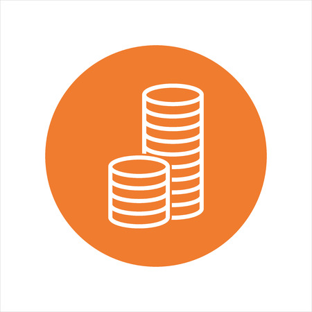 stack of coins: Stack coins icon. Money flat vector illustration on orange background Illustration
