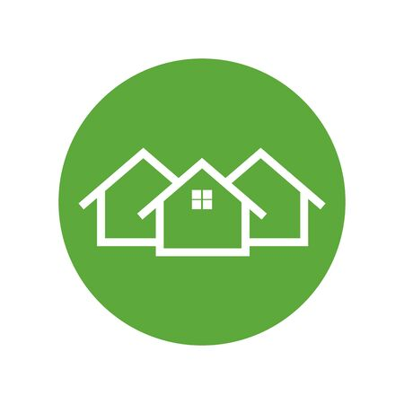 modern house: Home icon. House flat vector illustration on green background Illustration