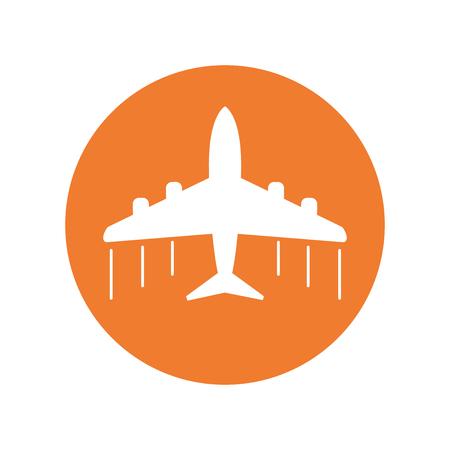 Plane icon. Airplane flat vector illustration on orange background