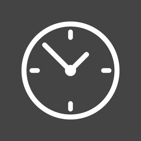 Clock icon, flat design. Vector illustration on grey background