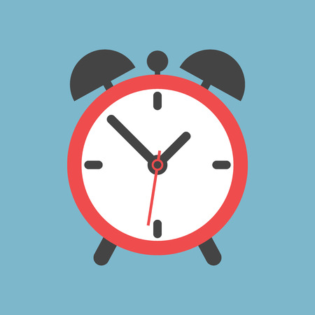 Alarm clock icon. Flat design style. Simple icon on blue background. Web site page and mobile app design element