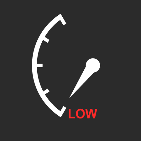 rating: Speedometer, tachometer, fuel low level icon. Flat vector illustration on white background Illustration