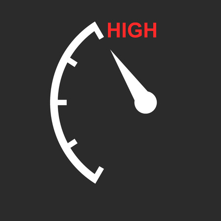Speedometer, tachometer, fuel low level icon. Flat vector illustration on white background Çizim