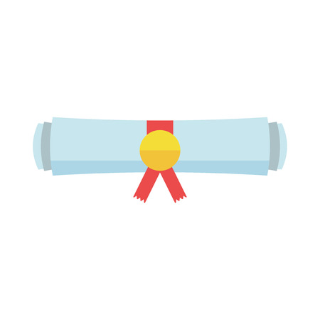 rolled scroll: Diploma rolled scroll flat design icon. Finish education symbol. Graduation day celebration element. Graduate scroll vector illustration on white background. Illustration