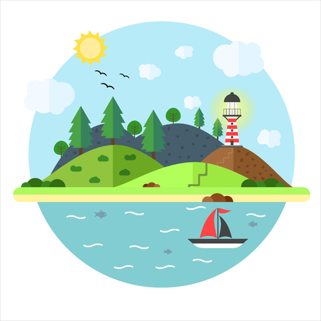 Vacation in the sea with lighthouse, hill, tree, mountain, fish and sailing ship. Summer time holiday voyage concept. Illustration in flat style. Travel background.  イラスト・ベクター素材