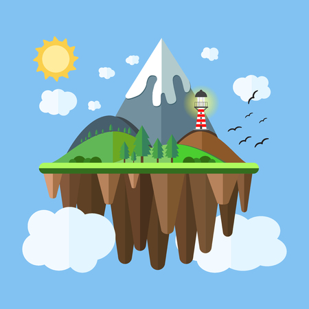 floating island: Floating island with mountain, hill, tree and birds. Summer time holiday voyage concept. Illustration in flat style. Travel background. Illustration
