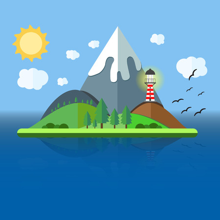 Paradise Island with mountain, hill, tree and birds. Summer time holiday voyage concept. Illustration in flat style. Travel background. Иллюстрация