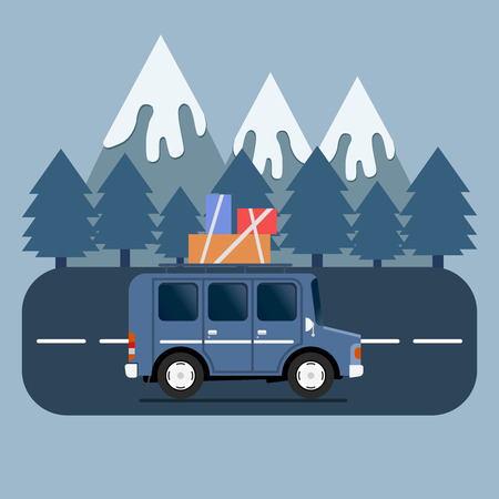 campsite: Travel car campsite place landscape. Mountains, trees, fir tree, and road. Vector illustration in flat style.