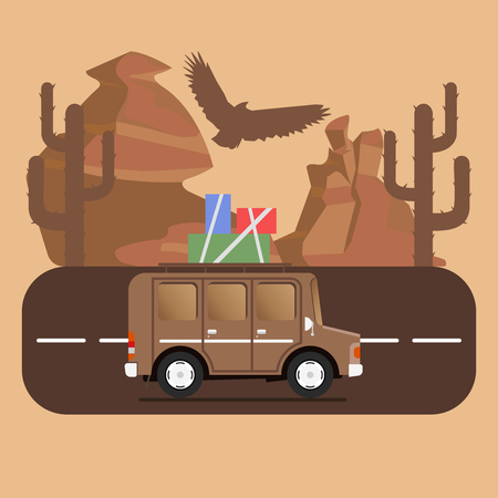 campsite: Travel car campsite place landscape. Mountains, desert, cactus, eagle and road. Vector illustration in flat style.