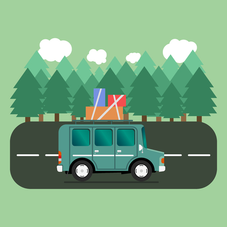 autobahn: Travel car campsite place landscape. Forest, trees, fir tree and road. Vector illustration in flat style.