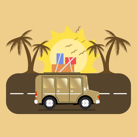 campsite: Travel car campsite place landscape. Palm, birds, sun, beach, and road. Vector illustration in flat style.