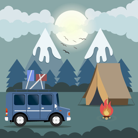 campsite: Travel car campsite place landscape. Mountains, night forest, birds, boon and bonfire. Vector illustration in flat style.