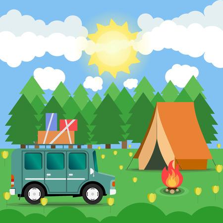 campsite: Travel car campsite place landscape. Forest, sun, flower and bonfire. Vector illustration in flat style.