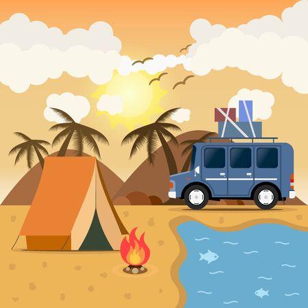 campsite: Travel car campsite place landscape. Mountains, desert, beach, birds, sea and bonfire. Vector illustration in flat style.