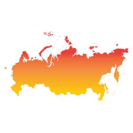 Russia, Russian Federation map. Colorful orange vector illustration Illustration