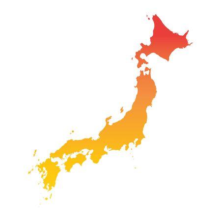 Japan map. Colorful orange vector illustration Illustration