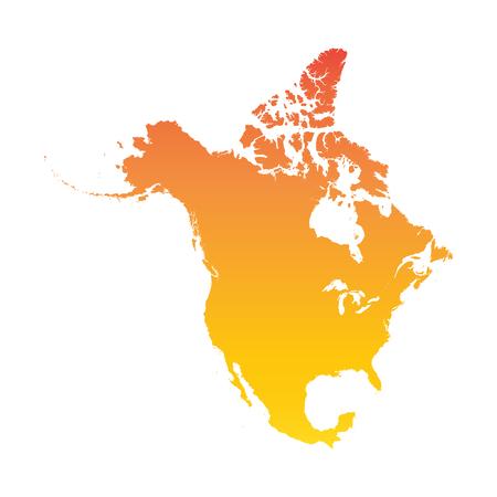 North America map. Colorful orange vector illustration Illustration