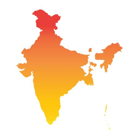 India map. Colorful orange vector illustration Illustration