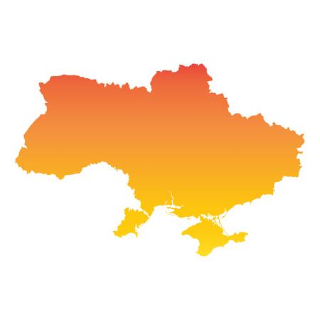 Ukraine map. Colorful orange vector illustration