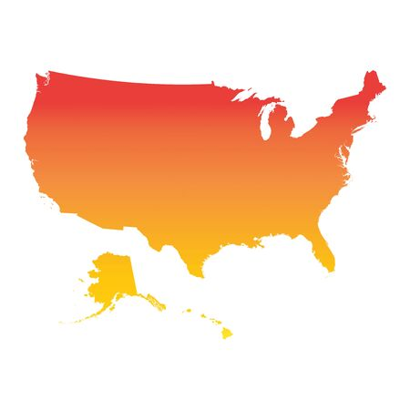 Usa, United States of America map. Colorful orange vector illustration