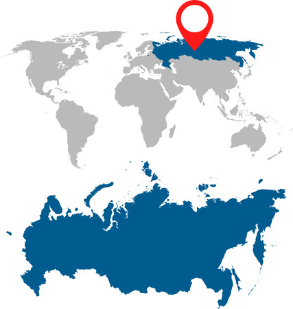 cray: Detailed map of Russia, Russian Federation and World map navigation set. Flat vector illustration.