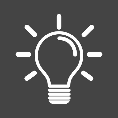 Light bulb icon in grey background. Idea flat vector illustration. Icons for design, website.