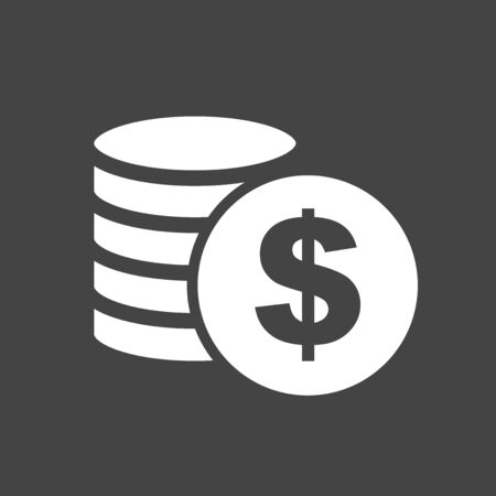 Money silhouette icon on grey background. Coins vector illustration in flat style. Icons for design, website. Illustration