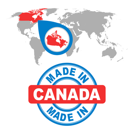 Made in Canada stamp. World map with red country. Vector emblem in flat style on white background.  イラスト・ベクター素材
