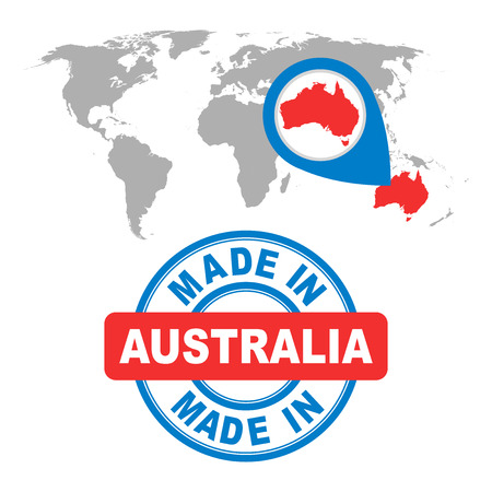 australia stamp: Made in Australia stamp. World map with red country. Vector emblem in flat style on white background. Illustration