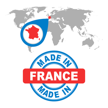 french produce: Made in France stamp. World map with red country. Vector emblem in flat style on white background. Illustration