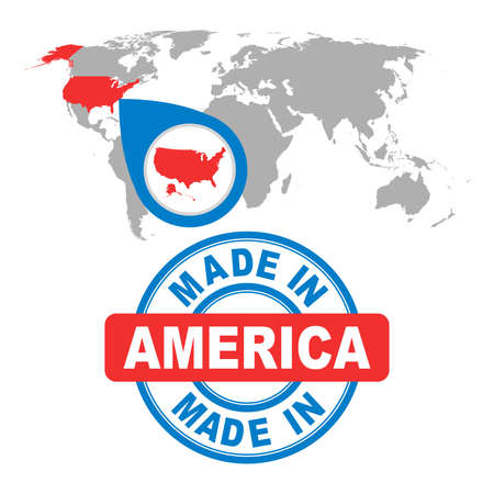 Made in America, USA stamp. World map with red country. Vector emblem in flat style on white background.