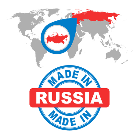 made russia: Made in Russia stamp. World map with red country. Vector emblem in flat style on white background. Illustration