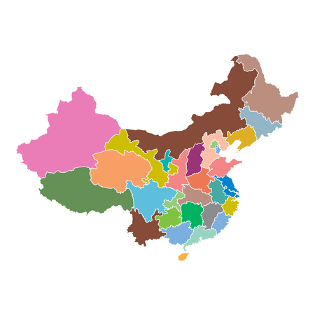 cartographer: China map with province region. Flat vector illustration on white background