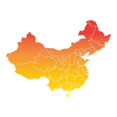 China map. Colorful orange vector illustration on white background 向量圖像