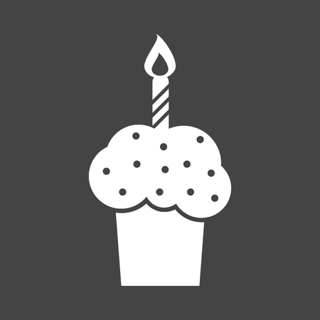 Birthday cake flat icon. Fresh pie muffin on black background Illustration