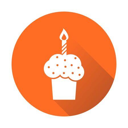 orange cake: Birthday cake flat icon. Fresh pie muffin on orange round background Illustration