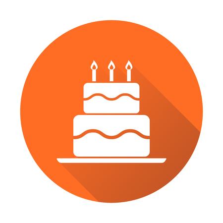 Birthday cake flat icon. Fresh pie muffin on orange round background Illustration