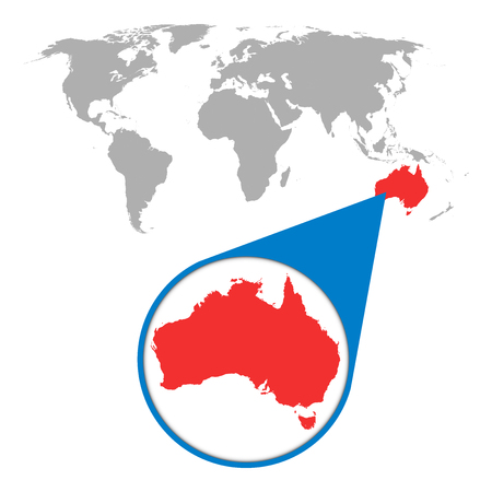 571 australia map pin cliparts stock vector and royalty free world map with zoom on australia map in loupe vector illustration in flat style gumiabroncs Images