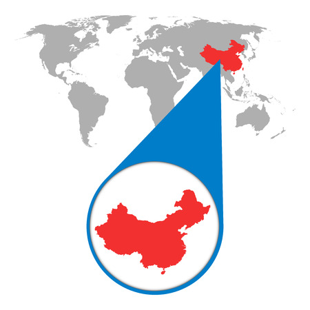 World map with zoom on China. Map in loupe. Vector illustration in flat style