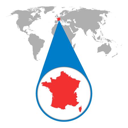 Wereldkaart met zoom op Frankrijk. Kaart in loupe. Vector illustratie in platte stijl Stock Illustratie