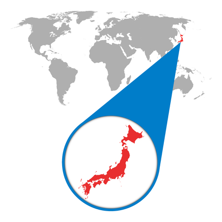 World map with zoom on australia map in loupe vector illustration world map with zoom on japan map in loupe vector illustration in flat style gumiabroncs Choice Image