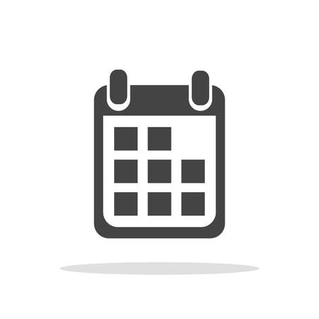 Calendar icon on white background, vector illustration. Flat style. Icons for design, website.
