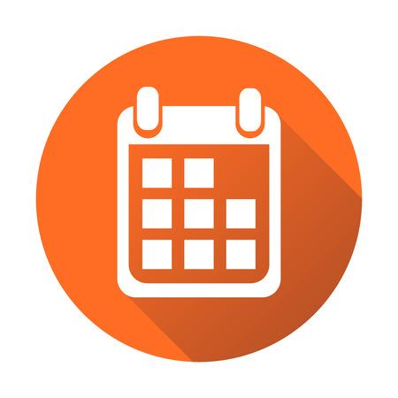 Calendar icon on orange round background, vector illustration. Flat style. Icons for design, website. Illustration