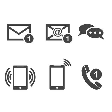 Contact buttons set icons. Email, envelope, phone, mobile. Vector illustration in flat style on white background.