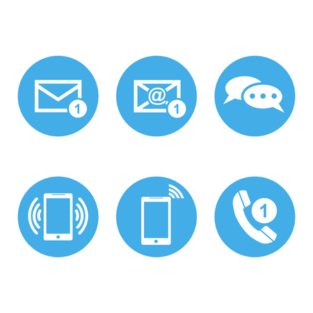 Contact buttons set icons. Email, envelope, phone, mobile. Vector illustration in flat style on round blue background.