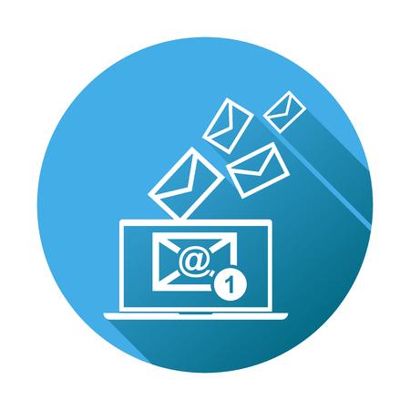 ノート パソコンの電子メール メッセージ。青の円形の背景にフラット スタイルのベクトル図。  イラスト・ベクター素材