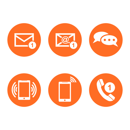 Contact buttons set icons. Email, envelope, phone, mobile. Vector illustration in flat style on round orange background. Illustration