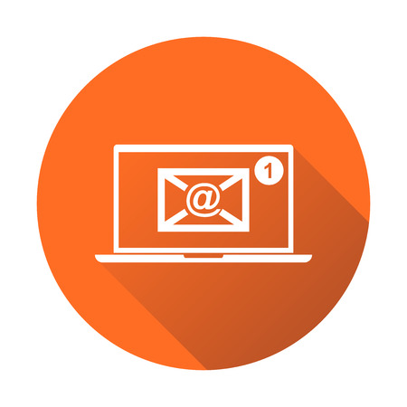 Email envelope message on laptop. Vector illustration in flat style on orange round background.