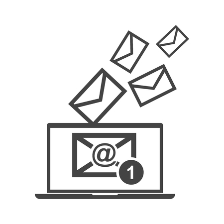 collect: Email message on laptop. Vector illustration in flat style on white background.