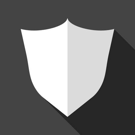 Shield protection icon. Vector illustration in flat style with shadow on black background